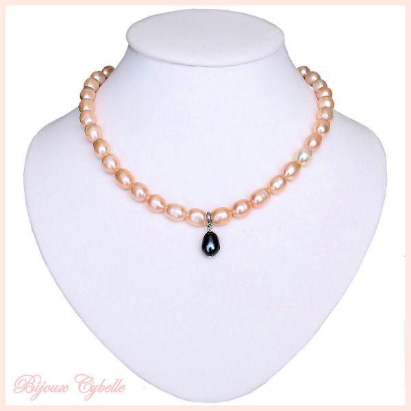 Perles de culture roses et noire