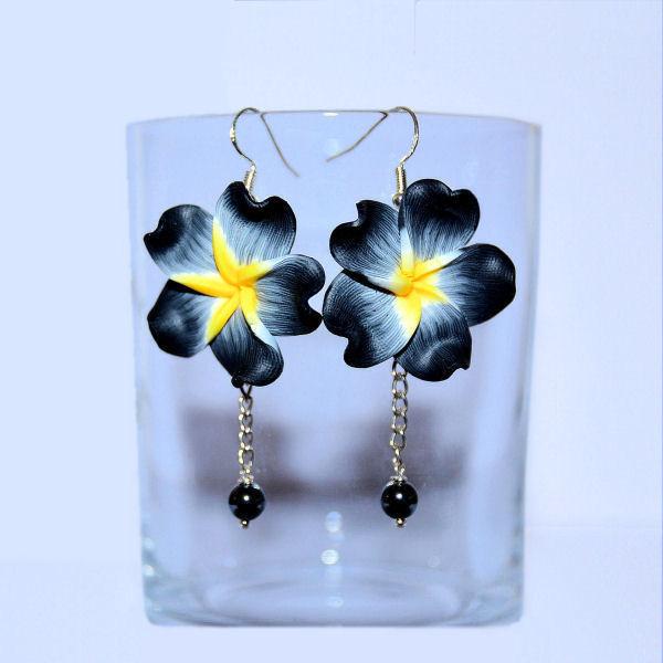 Boucles d'oreilles fleurs et hématite
