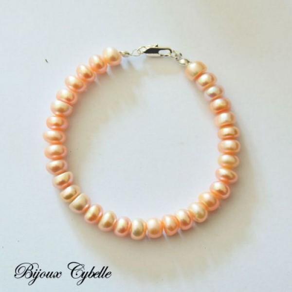 Perles de culture rose d'eau douce - bracelet