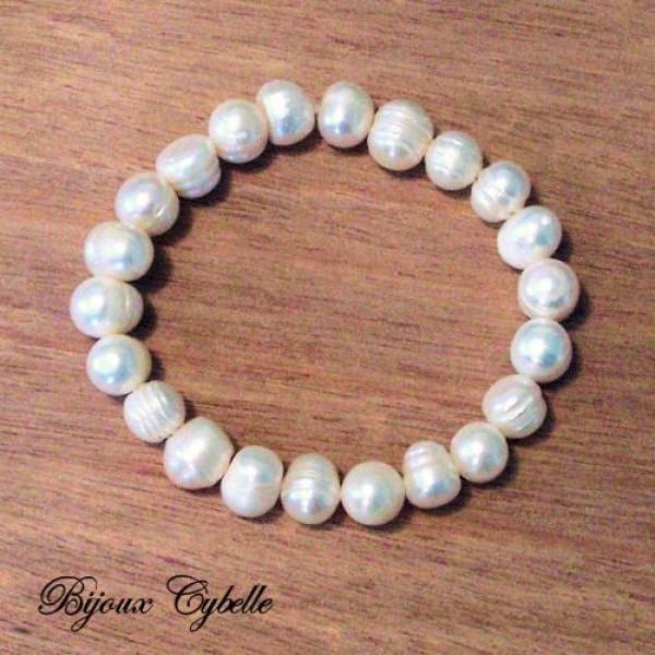 Perles de culture baroques blanches - bracelet