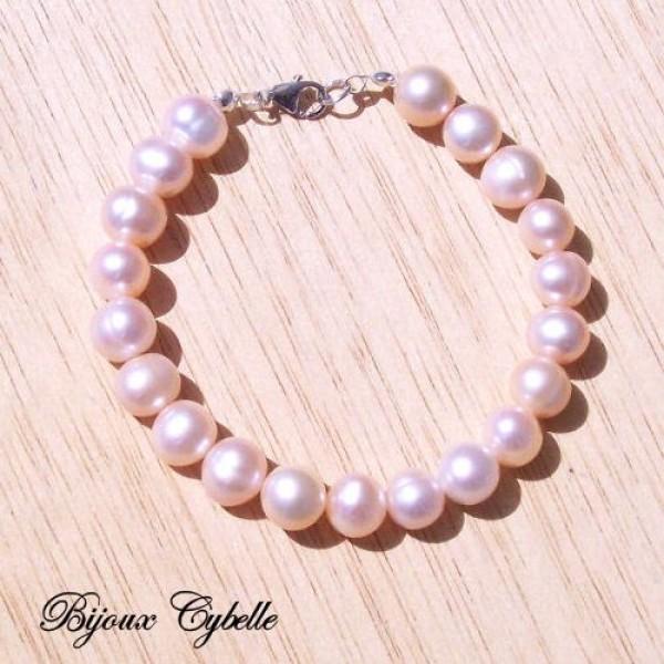 Perles de culture baroques roses - bracelet