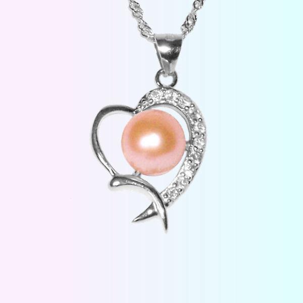 Coeur en argent - Perle de culture rose.