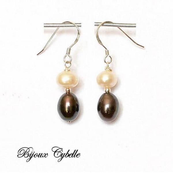 Boucles d'oreilles - Perles de culture blanches et noires