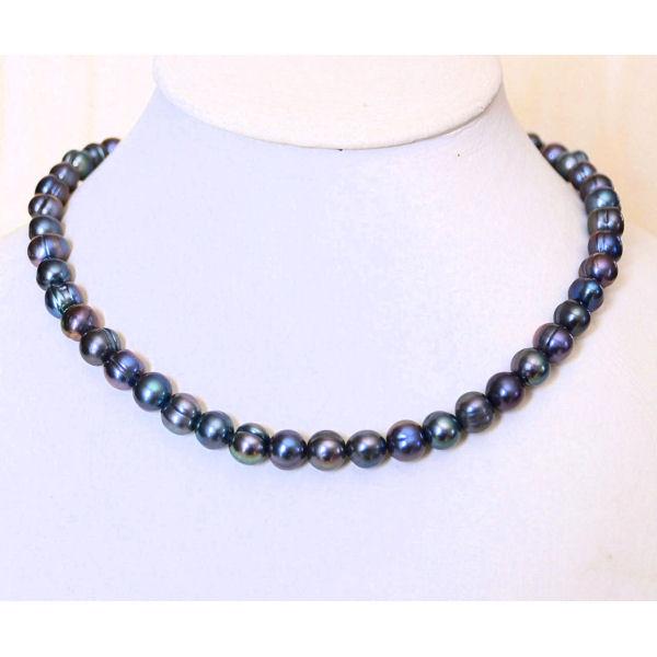 Collier - perles de culture noires