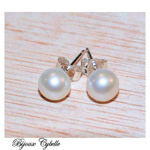 Boucles d'oreilles en perles de culture blanches