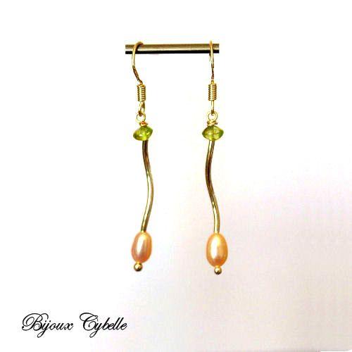 Boucles d'oreilles - perles de culture - péridot