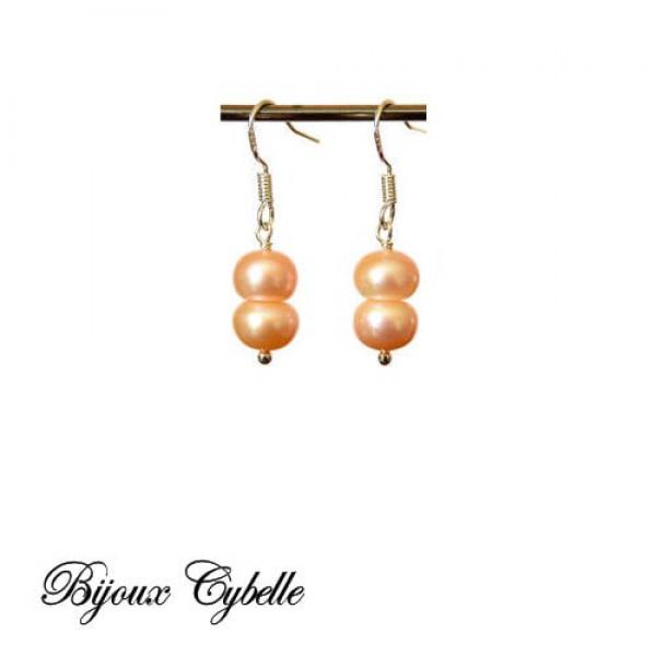 Boucles d'oreilles - perles de culture roses.