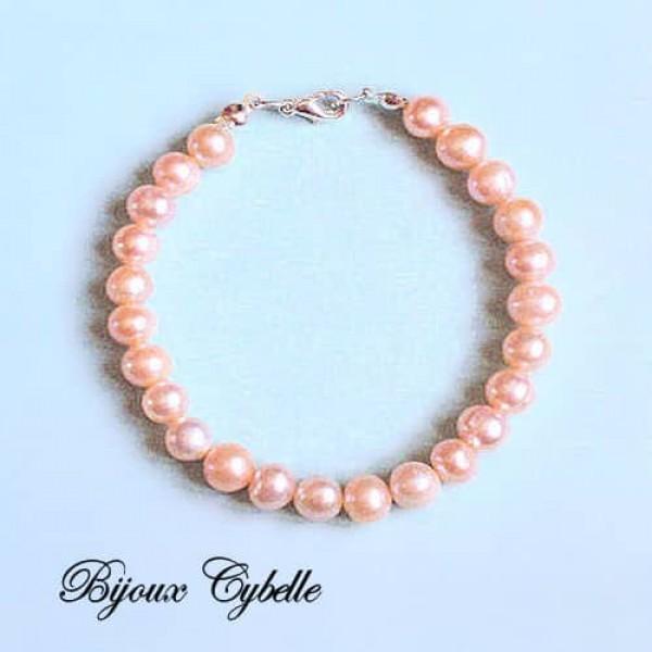 Perles de culture - bracelet perles roses