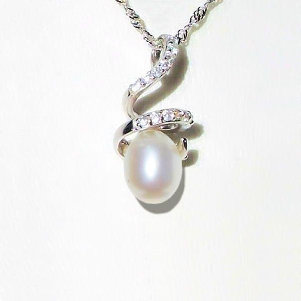 Pendentif - Perle d'eau douce blanche.