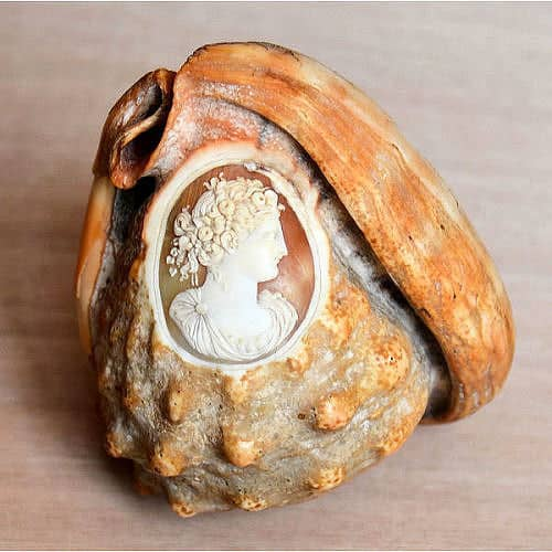Camée sculpté sur coquillage.